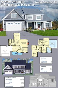 Architectural Designs Exclusive House Plan 770011CED gives you 3 beds, 2.5 baths and over 2,200 square feet of heated living space and has a 2-story foyer and great room. Ready when you are. Where do YOU want to build?