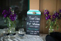 DIY Your glass for the night sign. Dual purpose as cups and place cards