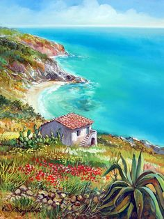 Solve Francesco Manglalardi Art jigsaw puzzle online with 80 pieces - Malerei Seascape Paintings, Nature Paintings, Beautiful Paintings, Beautiful Landscapes, Watercolor Landscape, Landscape Art, Landscape Paintings, Watercolor Paintings, Puzzle Art
