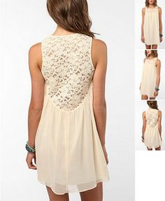 Urban Outfitters: Pins and Needles Lace Yoke Baby Doll Dress $59 (back)
