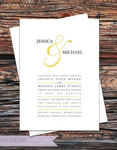 Printable/DIY - Color Ampersand (Mustard Yellow and Gray) Wedding Invitation & RSVP Set. $75.00, via Etsy.