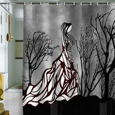 this would be a really cool charcoal drawing  Deny Designs Amy Smith Lost in the Woods Shower Curtain