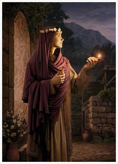 """Behold He Cometh"" – Simon Dewey – LDS art – ""The wise virgin with her lamp trimmed and oil ready – waiting for the coming of the bridegroom. This painting illustrates the parable of the wise virgins from the New Testament. Pictures Of Christ, Temple Pictures, Church Pictures, Arte Lds, Simon Dewey, Idaho Falls Temple, La Sainte Bible, Lds Art, Bride Of Christ"