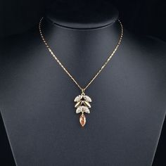 18K Real Gold Plated Gold Color Austrian Crystals Leaves Design Pendan | Stylish Beth