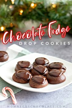 Chocolate Fudge Drop Cookies are a chocolate-lover's dream. Brownie-like drop cookies that are so soft inside and topped with chocolate ganache--these will make you new friends when you make them for Christmas, a bake sale, or to welcome the new neighbors to the neighborhood. #chocolate #christmascookies #christmas #christmasrecipes #ganache #chocolateganache