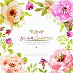 Flores realísticas de aquarela fundo Vetor grátis