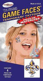 LSU Fleur Di Lis Tiger Eye Game Faces Waterless Temporary Tattoos - Set of 4 $3.25