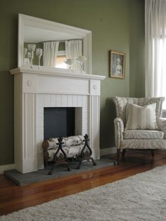 Faux Fireplace and Mantel in White. A Shabby Chic style faux fireplace and mantel in gorgeous antique white. This is a new architectural inspired piece perfect for displaying home décor and bringing warmth to a cold room. Beautiful Victorian style moldings wrap the faux brickwork firebox. Available at www.etsy.com/shop/robertmarshall