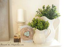 Beneath the Magnolias: Spring Mantel with a Little DIY Wall Decor