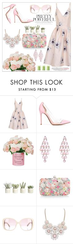"""""""pink summer style"""" by nickooe-zhou ❤ liked on Polyvore featuring Chi Chi, Gianvito Rossi, Allstate Floral, Accessorize, Valentino and Bliss"""