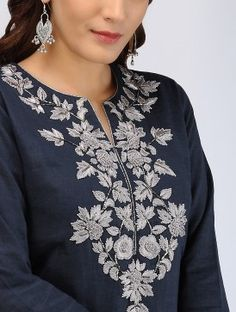 Navy Blue Thread-embroidered Linen Kurta - All About Hand Embroidery Dress, Kurti Embroidery Design, Embroidered Clothes, Embroidery Fashion, Neckline Designs, Dress Neck Designs, Blouse Designs, Kurta Neck Design, Kurta Designs Women