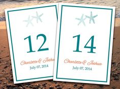 Beach Wedding Table Number Template | Starfish Caribbean Blue Coral Spice Microsoft Word Template | EDITABLE TEXT | 5x7 Wedding Table Number  by PaintTheDayDesigns on Etsy, $8.00