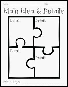 Crystal's Classroom: Using a Puzzle to Teach Main Idea and Details Reading Lessons, Reading Strategies, Reading Skills, Reading Comprehension, Teaching Main Idea, Student Teaching, Teaching Tools, Teaching Resources, Teaching Ideas