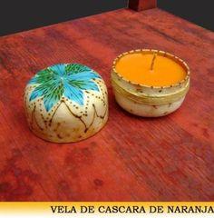vela de cascara de naranja  cera y flores,cascara de naranja,lazo y barniz pirograbado,cascara modelada deshidra
