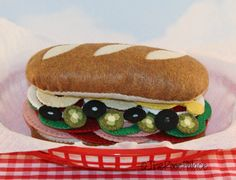 Felt Food Sub Sandwich Set  WOOL by ThePixiePalace, $65.00
