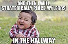 put legos in the hallway