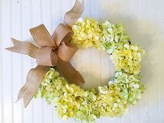 summer door wreath, summer wreath, wreath for door, spring wreath, wreath for spring, hydrangea wreath, yellow wreath by YourHandmadeWreath on Etsy