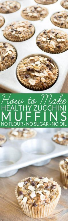 Healthy Zucchini Muffins contain no oil, no refined sugar, and no flour. The oil and sugar are replaced with ripe bananas and the flour is replaced with whole grain oats. Zucchini and spices give the muffins classic zucchini bread flavor. Enjoy a fall favorites with no guilt.