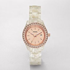 FOSSIL A Touch of Rose:Women Stella Mini Resin Watch - Pearlized White with Rose ES2864 -- Ive been wanting a watch for a long time, and this one is so cute