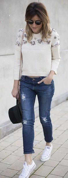 Embellished #Sweater, Ripped Denim, #WhiteSneakers
