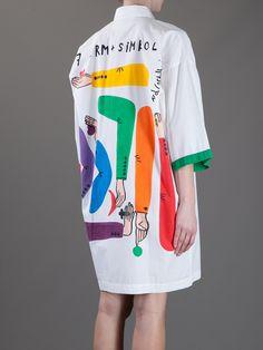 Jc De Castelbajac Vintage Hand-Painted Oversized Shirt Dress in White | Lyst