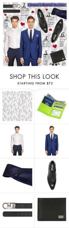 """""""Ultimate Valentine's Day Date Night"""" by luisaviaroma ❤ liked on Polyvore featuring Brian Yates, Royce Leather, Z Zegna, Tonello, title of work, Eveet, Salvatore Ferragamo, Dolce&Gabbana, Givenchy and suit"""