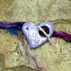 Handmade Heart Toggle Clasp Amethyst Purple by beetreebyme, $5.00
