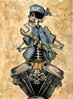 Day of the Dead Artist David Lozeau, El Mecanico V-Twin, Lowbrow Art, David Lozeau Dia de los Muertos Art