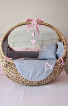 Beautiful whicker giant Crib just bought one for my baby Nursery Room, Girl Nursery, Dolls Prams, Baskets On Wall, Mom And Dad, Bassinet, Babys, Playroom, Baby Kids