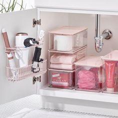 Bathroom Storage Boxes, Bathroom Sink Organization, Sink Organizer, Home Organization Hacks, Bedroom Storage, Dorm Bathroom Decor, Bath Storage, Bathroom Inspo, Kitchen Decor