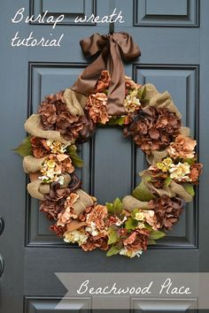 DIY Burlap Fall Wreath Tutorial - Gorgeous wreath made with artificial flowers, hydrangeas, brown wired ribbon and burlap ribbon. Love!