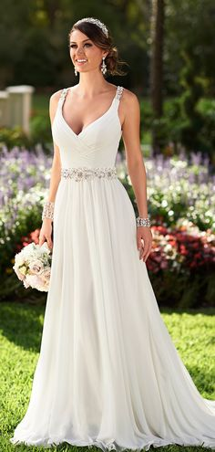 High Quality Off The Shoulder Deep V Neck White Chiffon Princess Wedding…