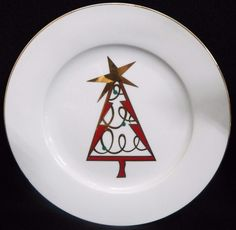 Pier 1 One CHRISTMAS TREE Red Lot of 2 Salad Plates Tree in Center with Gold Trim Dinnerware Near Mint Condition by libertyhallgirl on Etsy $15.99 for the pair