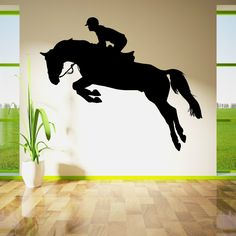 HORSE JUMPING SHOW HORSE RIDER JOCKEY Vinyl wall art sticker decal   eBay huge customisable