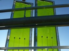 Algae facade system Harvests heat and energy from the sun.  Can be calibrated to work with the shading requirements of the building. http://www.archdaily.com/339451/worlds-first-algae-bioreactor-facade-nears-completion/