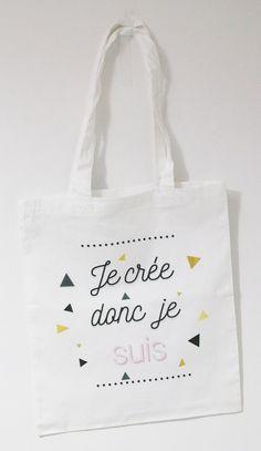 Tote bag par Hënnë ''Je crée donc je suis'' www.henne-bijoux.fr #totebag #tatouage #tattoo #sac #femme #fille #rock #rocknroll #cabas #nature #love #amour #rose #ink