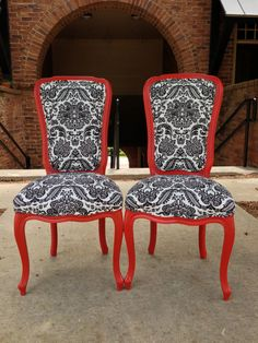 Superbe Pair French Accent Chairs Painted Satin Red Upholstered Black White Linen  Damask Designer Fabric By Heather
