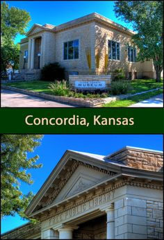 This is a well-preserved example of the classic design built with local limestone. It now houses the Cloud County Historical Museum. Small and simple, it is one of the finest looking Carnegie Libraries in the state. FACTS: Concordia, Kansas (Cloud County; Built: 1909: Funded $10,000, Latitude:  39.5705171; Longitude:  -97.6584986 Carnegie Library, Historical Pictures, Weekend Trips, Libraries, Building Design, Kansas, Public, Museum, Houses