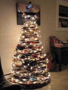 A very bookworm Christmas. Now that's a bad ass tree right there.