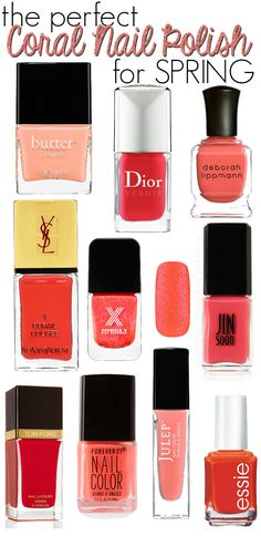 Awesome List Of Coral Nail Polish Picks! These will be perfect for Spring & Summer~
