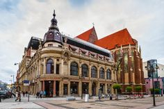 Monopol Hotel and the church of St. Dorothy, Stanislaus & Wenceslas, Swidnicka street, Wroclaw, Poland