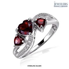 1.5ctw Genuine Garnet & Diamond Accent Heart Ring in Sterling Silver - Assorted Finishes at 88% Savings off Retail!