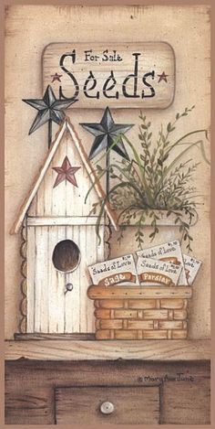 Search Seeds For Sale Posters, Art Prints, and Canvas Wall Art. Barewalls provides art prints of over 33 Million images. Primitive Painting, Primitive Folk Art, Primitive Crafts, Tole Painting, Country Primitive, Country Art, Country Decor, Decorative Bird Houses, Seeds For Sale