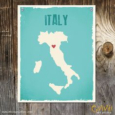 Italy Custom Art Print- Geography Love Collection - Italy Map 8 x 10 inches Customized Print. $22.00, via Etsy.