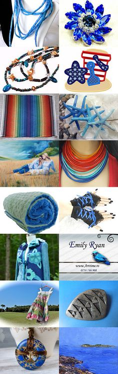 blue summer trends by Charlotte Handmade on Etsy--#etsy #treasury #brooch #blue #necklace #fiber #jewelry #sapphire #blue Pinned with TreasuryPin.com