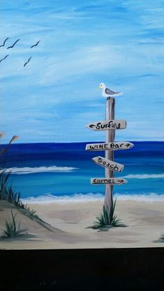 Life s A Beach Acrylic paint your own masterpiece party sip some wine and have fun Seascape Paintings, Landscape Paintings, Beach Canvas Paintings, Arte Quilling, Wine And Canvas, Wine Painting, Paint And Sip, Beginner Painting, Ocean Art