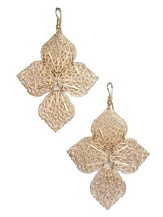 Matte Gold Metal Flower Earrings - $10.00 : FashionCupcake, Designer Clothing, Accessories, and Gifts