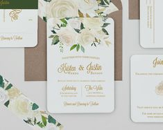 A romantic wedding with delicate white florals and wonderful greenery showcases calligraphy and serif fonts. Add an envelope liner, tag, or upgrade to a pocket fold package. Just contact us for an estimate. We loved this watercolor floral so much, we designed another suite. See the