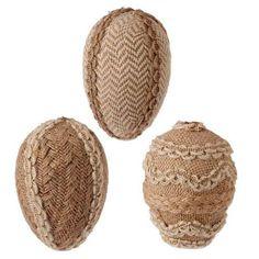 RAZ Burlap Easter Eggs from the 2015 Rustic Easter Collection  http://www.trendytree.com/raz-4-burlap-easter-egg-set-of-3.html