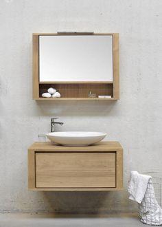 meuble salle de bains vasque ronde sous lavabo en bois